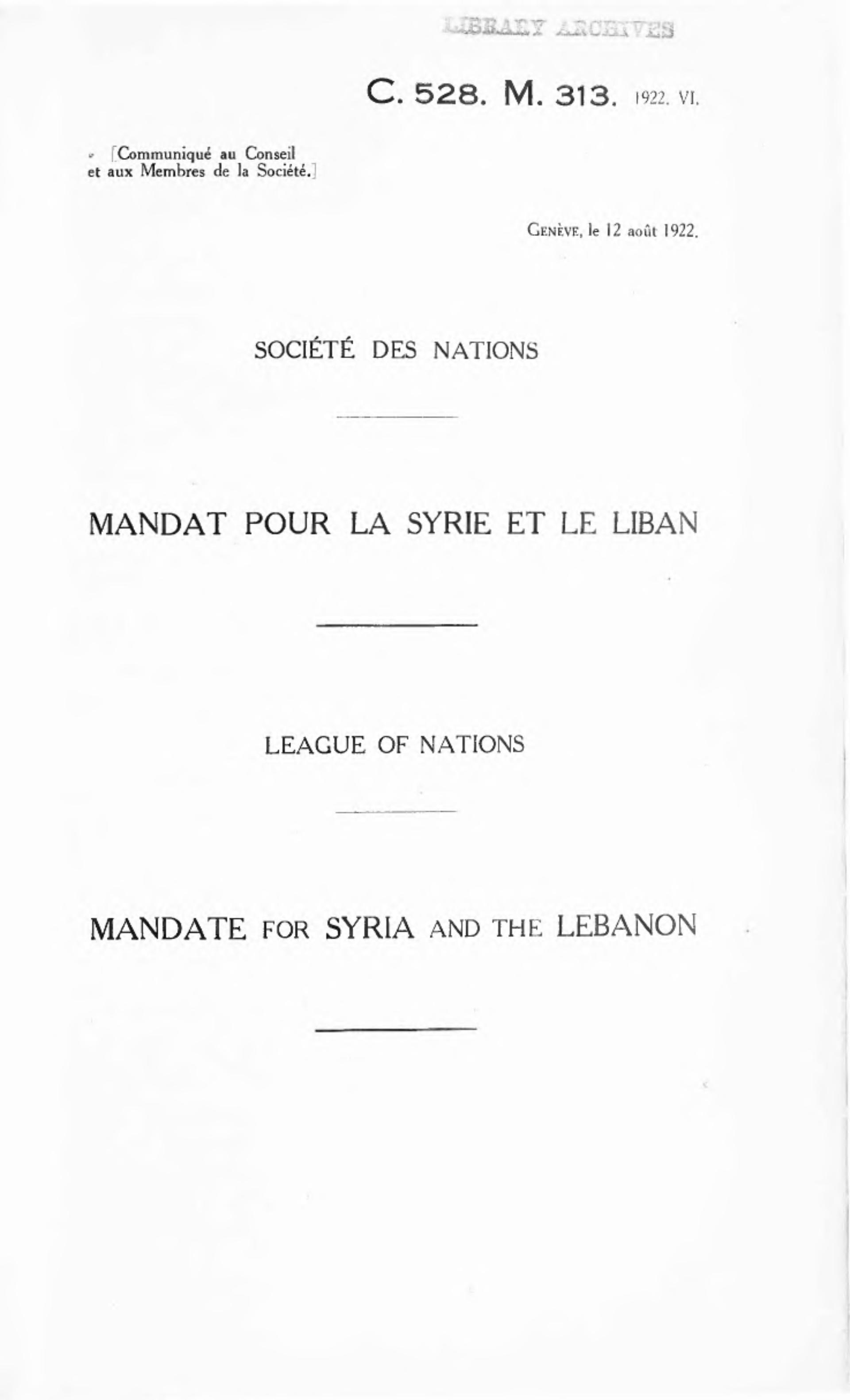 French Mandate For Syria And The Lebanon Wikipedia