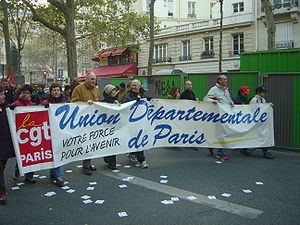 International comparisons of trade unions - A CGT banner during a 2005 demonstration in Paris