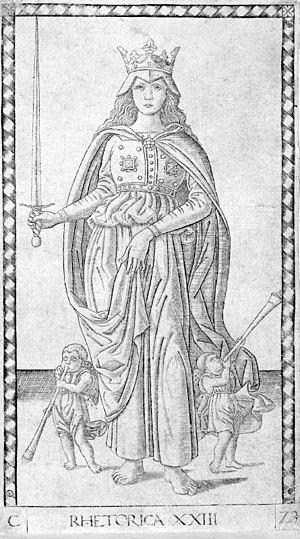 Mantegna Tarocchi - No. 23, Rhetorica (rhetoric), E-series
