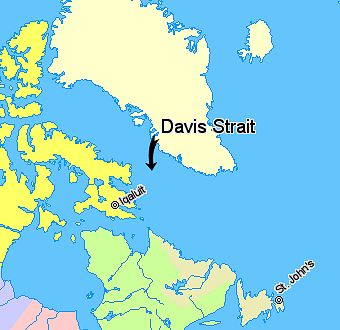 Map indicating Davis Strait
