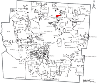 Minerva Park, Ohio - Image: Map of Franklin County Ohio With Minerva Park Labeled