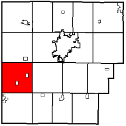 Location of Union Township in Hancock County.