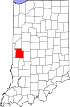 State map highlighting Parke County