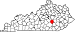 State map highlighting Rockcastle County