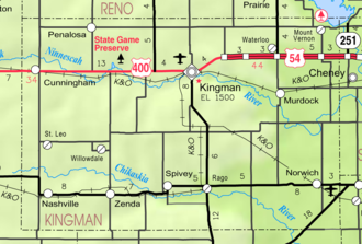Cunningham, Kansas - Image: Map of Kingman Co, Ks, USA