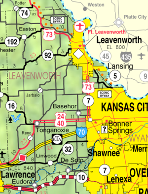 Lansing, Kansas - Image: Map of Leavenworth Co, Ks, USA