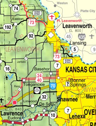 Basehor, Kansas - Image: Map of Leavenworth Co, Ks, USA