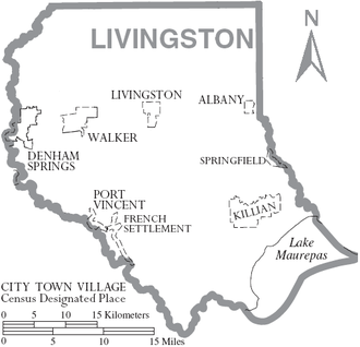 Livingston Parish, Louisiana - Outline of the Parish with municipal labels