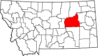 Map of Montana highlighting Garfield County