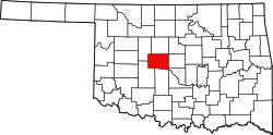 Map of Oklahoma highlighting Canadian County.svg