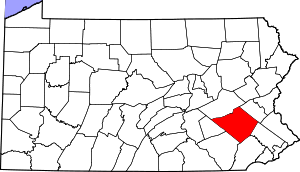 Map of Pennsylvania highlighting Berks County