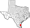 State map highlighting Kenedy County