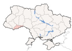 Location o Chernivtsi Oblast (red) athin Ukraine (blue)