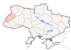 Map of Ukraine showing Lviv Oblast