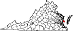 State map highlighting Mathews County