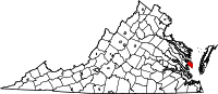 Map of Virginia highlighting Mathews County