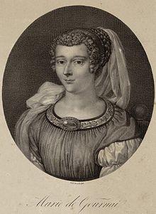 Marie de Gournay, lithographie du XIXesiècle