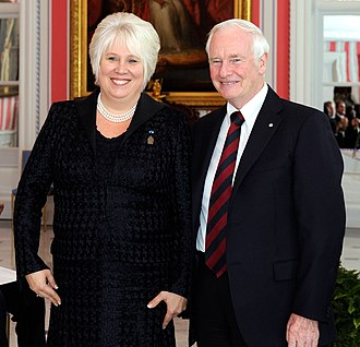 David Johnston - Johnston with Marina Kaljurand, Ambassador to Canada for Estonia, at Rideau Hall, December 1, 2011