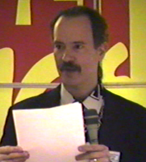 Mark Gruenwald - Mark Gruenwald on a comics convention panel in the early 1990s