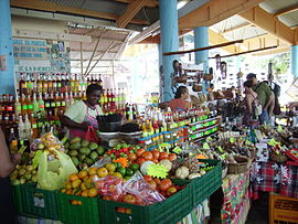 A view of the market in Sainte-Anne