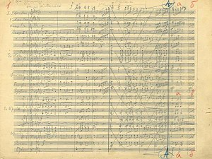 "March on the Drina - ""Mars na Drinu"", Stanislav Binicki's original hand-written score, May 26, 1915."