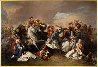 """The death of Markos Botsaris during the Battle of Karpenisi"" by Marsigli Filippo. Marsigli Filippo - The Death of Markos Botsaris - Google Art Project.jpg"