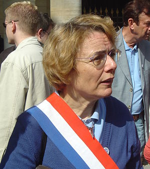 National Assembly (France) - Députés wear tricolor sashes on official occasions outside the Assembly, or on public marches; here Martine Billard (then Greens, currently Left Party)