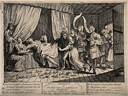 Mary Toft (Tofts) appearing to give birth to rabbits in the Wellcome V0014994.jpg