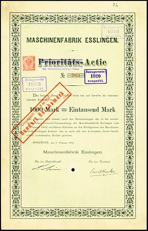 Maschinenfabrik Esslingen - Share of the Maschinenfabrik Esslingen, issued 1882