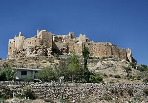 A view of Masyaf Castle from ground level