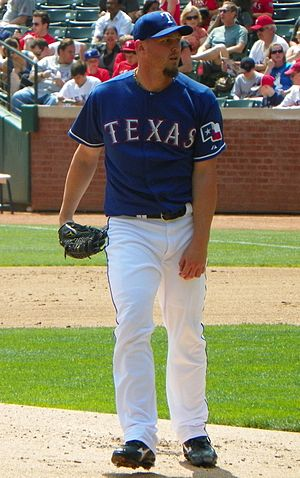 English: Matt Harrison pitching for the Ranger...
