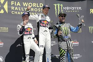2016 World RX of Hockenheim - Event podium - (L-R) Toomas Heikkinen, Mattias Ekström and Ken Block