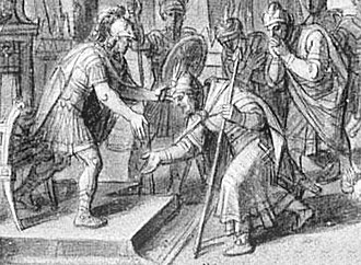 Mazaeus - Mazaeus submits Babylon to Alexander the Great. François Verdier (detail).