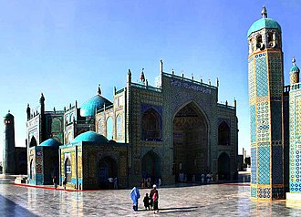 "Mazar (mausoleum) - The Shrine of Ali in Mazar-i-Sharif, Afghanistan, one of the reputed burial places of Ali, cousin and son-in law of Muhammad. Mazar-i-Sharif means ""Tomb of the Exalted""."