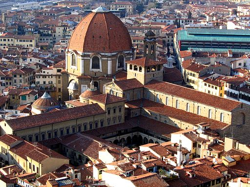 Biblioteca Medicea Laurenziana. Basilica di San Lorenzo, visto dal campanile di Giotto, Firenze