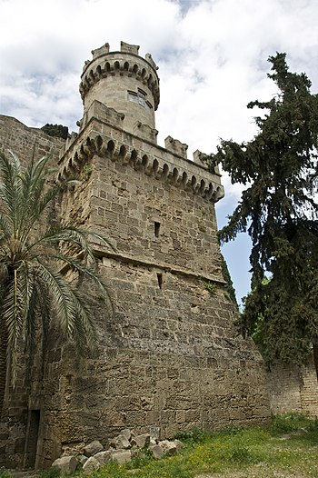 A tower of the medieval city walls of Rhodes, ...