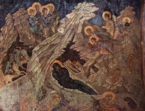 Η Γέννηση του Χριστού, τοιχογραφία από το ναό της Περιβλέπτου στο Μυστρά