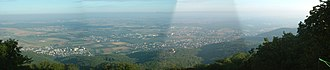 Melibokus - Panorama of the view from the summit of Melibokus, overlooking Zwingenberg, Alsbach, Bickenbach with Seeheim-Jugenheim on the right. Alsbach Castle is visible in the centre