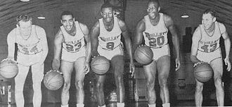 Walt Bellamy - Members of the 1963–64 Baltimore Bullets, From left to rightː Rod Thorn, Charles Hardnett, Walt Bellamy, Gus Johnson and Terry Dischinger. Thorn, Bellamy and Johnson were elected to the Naismith Basketball Hall of Fame.