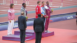 Athletics at the 2012 Summer Olympics – Men's high jump - Image: Men's high jump victory ceremony