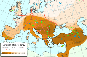 Bronze Age - Diffusion of metallurgy in Europe and Asia Minor-the darkest areas are the oldest.
