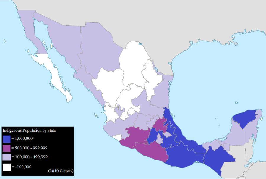 Mexican states by total indigenous population, 2010. Mexico Map Indigenous population 2010 (smaller).png
