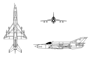 Orthographic projection of the Mikoyan-Gurevich MiG-21.