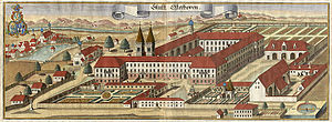 Osterhofen Abbey - The abbey around 1700 by Michael Wening