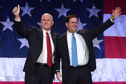 Ducey speaking at a campaign event for Republican presidential nominee Donald Trump in October 2016 with Indiana Governor Mike Pence, the vice-presidential nominee. Mike Pence & Doug Ducey (30623770732).jpg