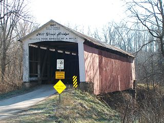 Mill Creek Covered Bridge place in Indiana listed on National Register of Historic Places