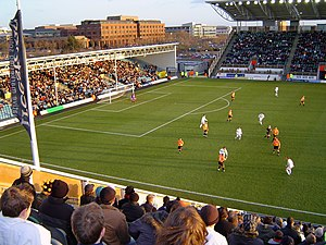 Stadium mk - MK Dons (white shirts) playing at the National Hockey Stadium during the 2004–05 season