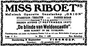 Miss Riboet's Orion - An advertisement for a Miss Riboet's Orion performance