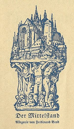 "Mittelstand - Representation of the supporting role of the Mittelstand in Walter Wilhelms ""Mission des Mittelstandes"" (Mission of the Mittelstand, 1925)"