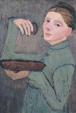 Modersohn-Becker - Selbstbildnis, Halbfigur nach links, eine Schale und ein Glas haltend - ca1904.jpeg